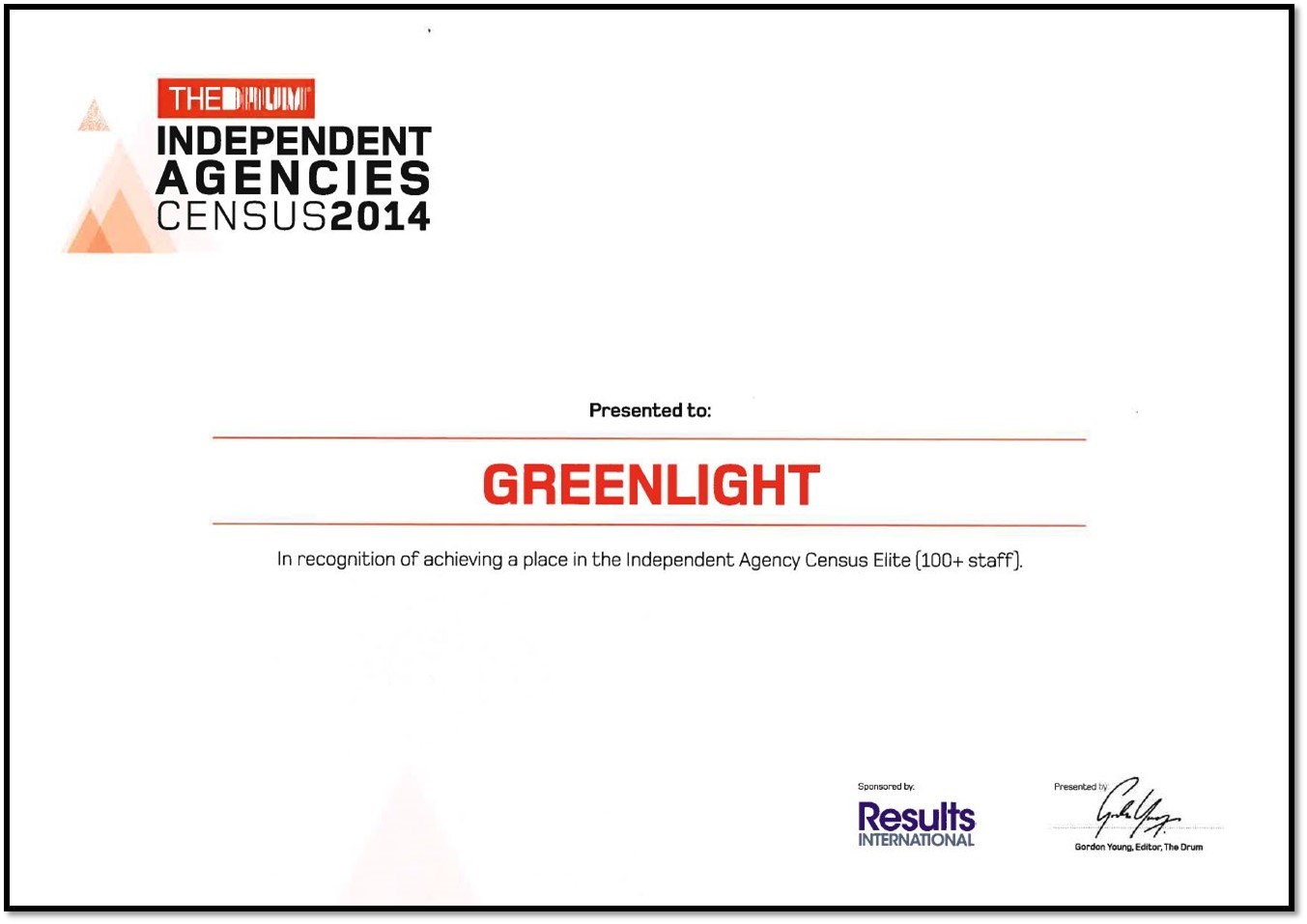 Top 5 ranking for Greenlight in The Drum's Independent Agencies Census